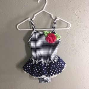 Stripe and Floral 12 month girl one piece swimsuit